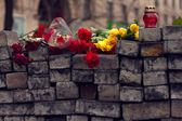 Kiev, Ukraine, February: flowers, lamps in memory — Stock Photo