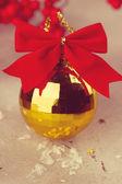 Gold Christmas ball — Stock Photo