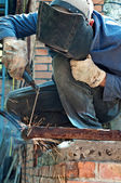 Man welding in workshop — Photo