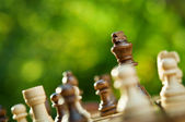 Chess pieces on a table — Stockfoto