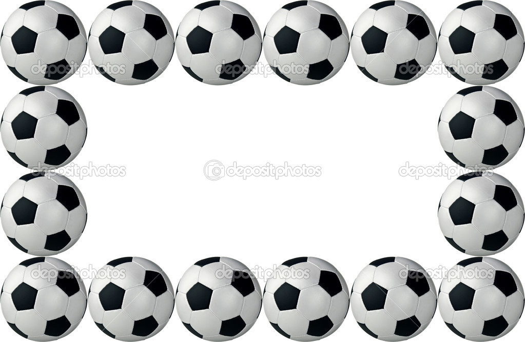 Framed soccer balls isolated on white background  Stock Photo #13133090