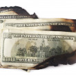 Stock Photo: Dirty and burn dollars