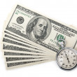 Stock Photo: Dollars money and stopwatch