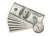 Dollars money and stopwatch — Stock Photo