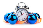 Clock and christmas balls — Stock Photo