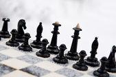 Winter chess pieces — Stock Photo