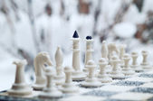 Winter chess pieces — Stock Photo