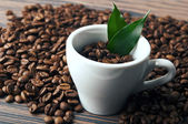 Coffee cup with fresh leaf — Stock Photo
