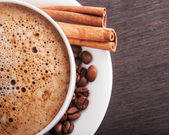 Closeup of hot cappuccino — Stock Photo