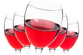 Glasses of red wine isolated — Stock Photo