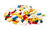Pile of colorful pills and capsule — Stock Photo