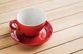Empty red cup of coffee — Stock Photo