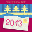 Torn exercise book in the box with the date 2013 painted. Applique of cut Christmas trees and colored paper. Congratulations on the new year. — Stock Vector