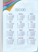 Calendar 2013. Week starts on Monday. Orientation days vertically. — Stock Vector