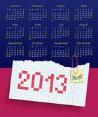 Kalender voor 2013. week begint op zondag. het thema van de school — Stockvector