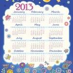 Calendar for 2013. Cloud in the night sky. Children applique flowers — Stock Vector #12455528