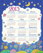 Calendar for 2013. Cloud in the night sky. Children applique flowers — Stock Vector