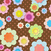 Seamless textile flowers on brown polka dot fabric — Stock Vector