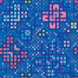 Blue decoration of squares and rectangles. Seamless mosaic of butterflies and beetles — Stock vektor
