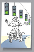 Learning Card - car everywhere is green. traffic light — 图库矢量图片