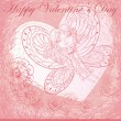Greeting card with Valentine's Day. Flying Butterfly girl on the background of the heart — Vektorgrafik