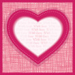 Vector greeting card Valentine's Day. A sheet of paper in the form of heart on the textural background — Stock vektor