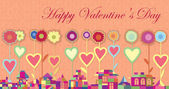Greeting card Happy Valentine's Day. Bright House of geometric shapes. Flowers with a heart symbol on the stems — Vettoriale Stock