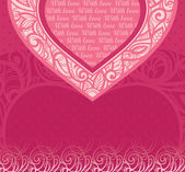 Vector pink card for congratulations. Decorative background for Valentine's Day — Stock Vector