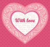 Vector pink card with congratulations. Heart Valentine's Day — Stock vektor