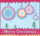 Christmas card of openwork elements. Wishing a Merry Christmas — Stock Vector