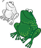 Funny frog sitting and smiling — Stock Vector