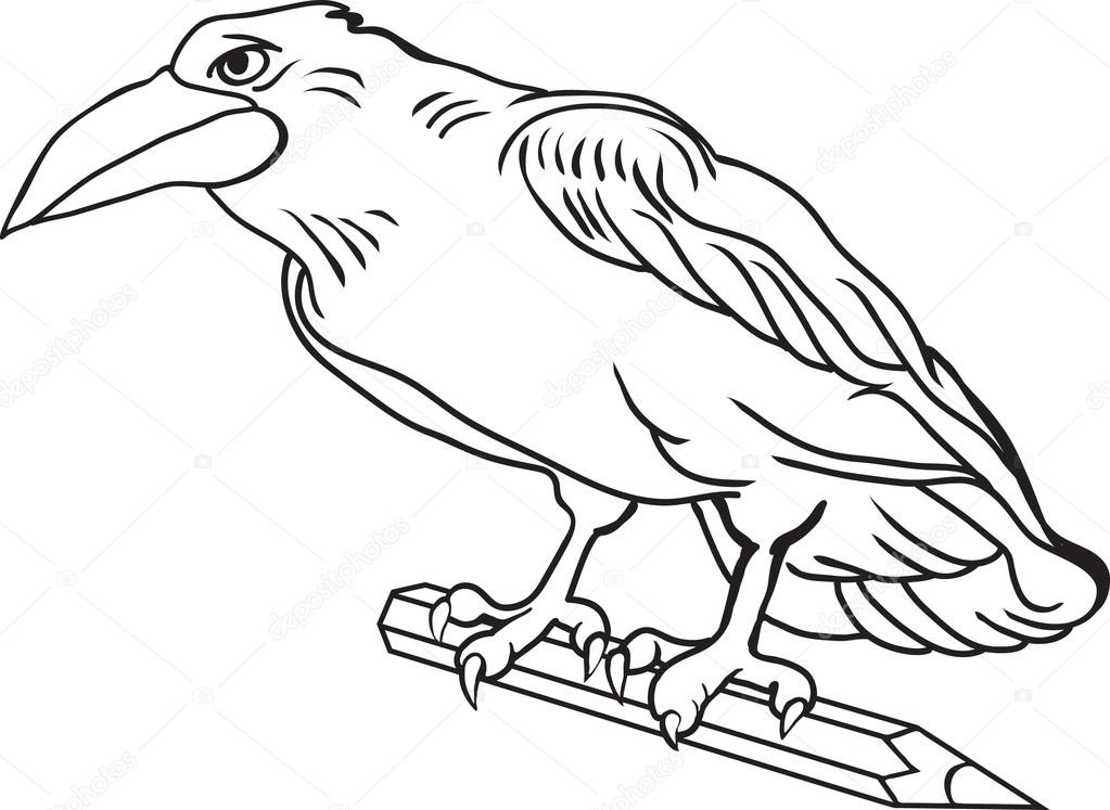 Corbeau de dessin contour oiseau tient un crayon image - Dessin contour ...
