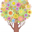 Isolated ornamental tree. Foliage of stylized flowers and butterflies — Stock Vector