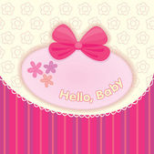 Greeting card with the birth of a girl. Pink bow on a background with embroidery — Stock Vector