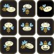 Icons with the bees. different emotions — Stock Vector