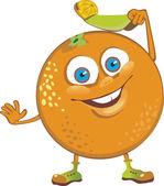 Cheerful orange welcomed. cartoon character — Stock Vector