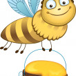 Royalty-Free Stock Vector Image: Cheerful bee carries a bucket of honey