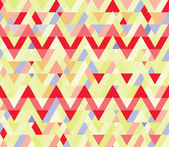 Yellow seamless geometric decoration. Mosaic background. Red zigzag — Stock Vector