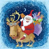 Winter nachtelijke hemel zichtbaar door de berijpte raam. jolly santa op een rendier — Stockvector