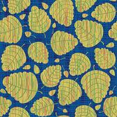 Vetor sem costura fundo com folhas de outono. textura de tecido de linho azul. — Vetorial Stock