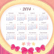Calendar for 2014 in pink. Week starts with Monday. The vertical arrangement. Application of paper and bows — Stock Vector