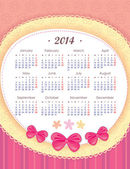 Calendar for 2014 in pink. Week starts with Monday. The vertical arrangement. Application of paper and bows — Stockvektor