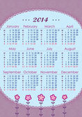Calendar for 2014 in lilac tones. Week starts with Monday. The vertical arrangement — Stock Vector