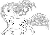 Drawing of a horse with a mane growing. Horsehair twirled date in 2014. — Stock Vector