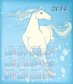 Calendar for 2014. Against the background of splashing silhouette of a running horse — Stock Vector