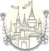 Figure fairytale castle. Linear solution for coloring — Stock Vector