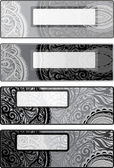 Vector decorative options horizontal backgrounds for flyers. black-white — Stock Vector