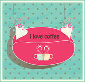 Stock suspended for hearts card. Oval shaped coffee beans. Two cups for loving couple — Vettoriale Stock