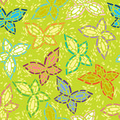 Seamless inlay of mosaic images of butterflies. Lime spring background, colorful wings — Stock Vector