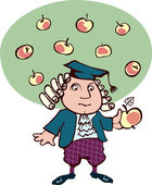 Isaac Newton thought, looking at an apple — Stockvector